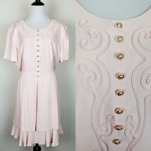 Vintage Betsy's Things Embroidered Pink Dress